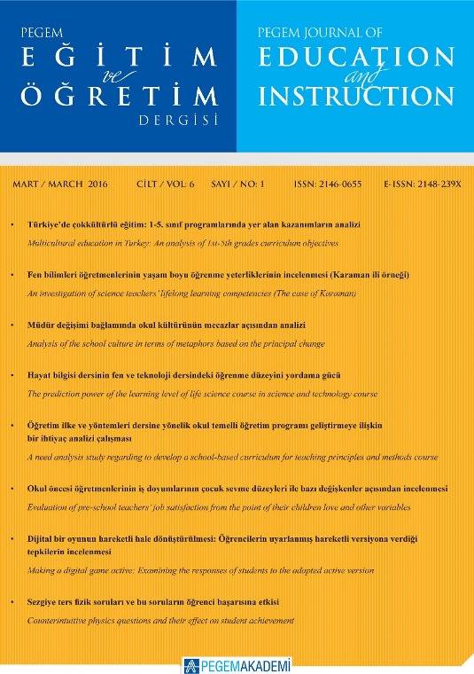 View Vol. 6 No. 1 (2016): Pegem Eğitim ve Öğretim Dergisi