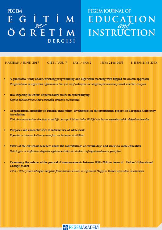 View Vol. 7 No. 2 (2017): Pegem Eğitim ve Öğretim Dergisi