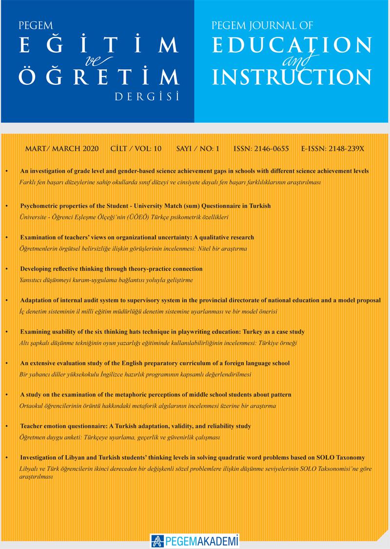 View Vol. 10 No. 1 (2020): Pegem Eğitim ve Öğretim Dergisi